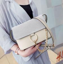 womens PU leather crossbody Shoulder Messenger Handbag ring chain small bag