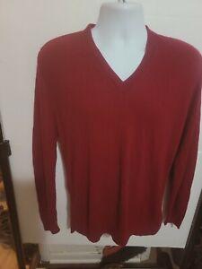 Macy's Men's store virgin orlon pullover V-Neck burgundy sweater size l