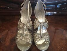 Chanel Stiletto High Heel Gold Party Sandals With CC Logo