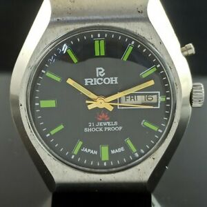 VINTAGE RICOH R31 AUTOMATIC JAPAN MENS DAY/DATE WATCH 427-a236325-5