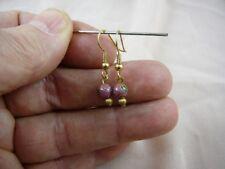 (EE600-6) 6 mm PINK GREEN flower CLOISONNE dangle EARRINGS Jewelry