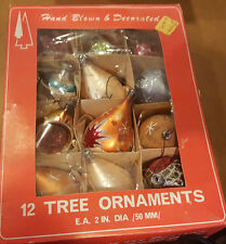 VINTAGE MERCURY GLASS CHRISTMAS ORNAMENTS  LOT OF 12) Indent teardrop cool