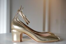 VALENTINO GARAVANI Metallic Gold Patent Leather Tango Ankle Pump Heel 8.5 / 38.5