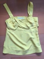 Diane Von Furstenberg Size 4 Silk Top Sleeveless Blouse Shirt Yellow Womens
