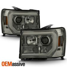 For 07-13 GMC Sierra 1500/2500HD/3500HD Smoked DRL LED Tube Projector Headlights