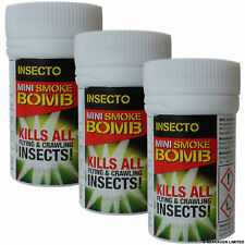 3 x INSECTO Smoke Insect Bomb - Moth Cluster Fly Wasp Mite Killer Control 3.5g