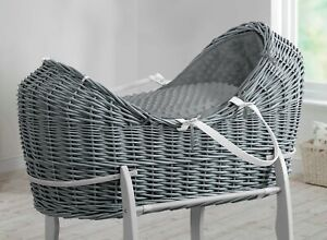 White Grey Wicker Deluxe Pod Moses Basket Dimple with Mattress and Dressing