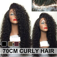 Brazilian Remy Curly Wigs Hair Women Girl Long Full Wavy Front Lace Wig Afro