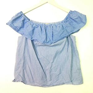 Lucky brand short sleeve ruffled off the shoulder striped top blue size medium