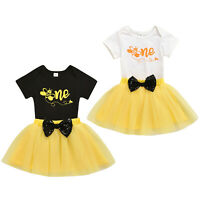Toddler Baby Girls 1st Birthday Clothes Outfit Bee Pattern Romper Tutu Skirt Set