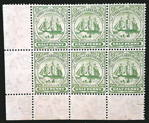 Turks and Caicos Islands Stamp 1905-08 1/2d Block of 6 Scott # 10 SG110 MINT NH