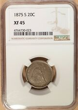1875-S Twenty Cent Piece, NGC graded XF 45, Original Type Coin, Full Liberty!
