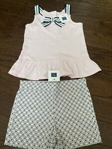 $68 New NWT Janie and Jack Girls 6 6Y Pink Green  Outfit Set Shirt Top Shorts