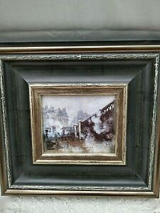 Old European City Scene / from an Original Painting Sturdy Vintage Frame