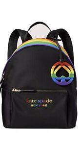 NWT Kate Spade Pride Backpack Rainbow Multi Bag Tote Handbag Black Beautiful!