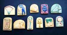 11x Small Ceramic Plaques Tiles Egyptian Symbol Pyramid Sphynx Scarabeus Pharaoh