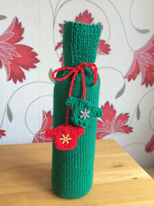 Bottle bag Wine gift bag Christmas Green Gift bag  Hand knitted Unique