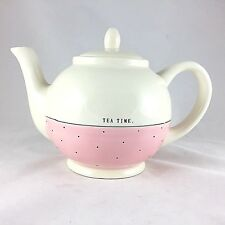 RAE DUNN Teapot by Magenta Tea Time Artisan Collection Pink Polka Dot Rare HTF