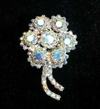 Weiss Signed Brooch Pin Blue Flower Bridal Bouquet Vintage 2.25 in Gold Tone