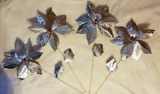 Vintage Silver Poinsettia Christmas Decorations
