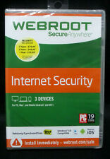 Webroot PC Secure Anywhere Internet Security CD 3 Devices PC Mac Computer NEW