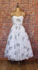 Genuine Vintage 80s Wedding Party Prom Dress Gown Retro Swing Rockabilly UK10/12