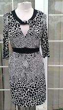 T NEXT 16 Stretch Dress animal Black White WINTER work party smart