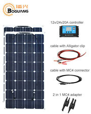 200w Solar Panel DIY Kit System 2x 100w Flexible Panel for 12v Battery RV Yacht