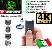 Microcamera spia 4K notturna infrarossi telecamera sorveglianza WiFi IP Motion