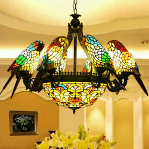 Retro Color Glass Parrot Bedroom Living Room Bar Dining Room table Chandelier