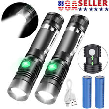 2 PACK 20000lm LED Flashlight Rechargeable USB T6 LED Tactical Torch Light Lamps
