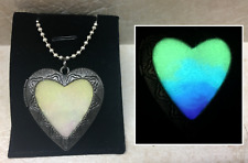 Antique Silver HEART Locket GLOW in the DARK Glitter Pendant Charm Necklace