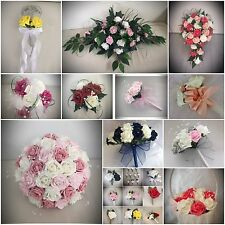 Wedding flowers artificial bouquets MANY COLOURS bride bridesmaid button holes