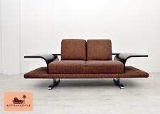 Himolla Designer Sofa Stoff Braun Holz Couche Sessel Chrom