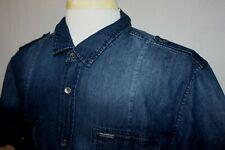 GUESS Military Style Slim Fit Denim Chambray Short Sleeve Shirt Dark Blue Sz XL