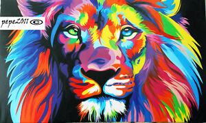 canvas print Australia painting rainbow lion tiger pop abstract art original