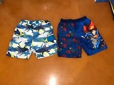 Lot of 2 Baby Boys Toddlers Superman OP Blue Shark Swim Swimming Shorts Size 3T