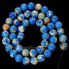 "Natural Blue Red Sea Sediment Jasper Gemstone Round Loose Beads 15"" 4mm 6mm 8mm"