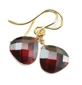14k Gold Cubic Zirconia Earrings Sim Red Garnet CZ Sterling Faceted Heart Drops