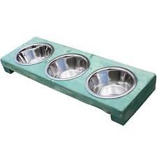 Hundenapf Fressnapf Napfständer 3er Futterstation Hund Katze 3x0,7 l Shabby grün