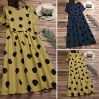 Summer Women Short Sleeve Round Neck Midi Dress Polka Dot Long Shirt Dress Plus