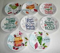 "COASTAL Melamine Appetizer Plate Assortment  6"" Diameter Set of 4 plates"