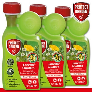 Protect Garden 3 x 400 ml Loredo Quattro Universal-Rasenunkrautfrei Weißklee