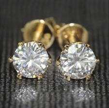 Solid 14k Yellow Gold 1 Ct D Vvs1 Round Cut Stud Earrings
