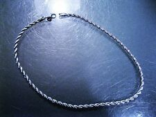 "925 Sterling Silver plated Jewelry 4mm Twisted Rope Chain 17"" Necklace"