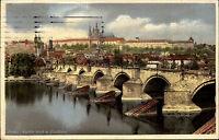 Praha Prag Tschechien Ansichtskarte 1940 Blick auf die Karlsbrücke und Hradschin
