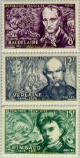 EBS France 1951 Symbolist poets: Baudelaire Verlaine Rimbaud YT 908-910 MNH**
