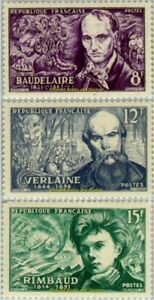 EBS France 1951 Symbolist poets: Baudelaire, Verlaine & Rimbaud YT 908-910 MNH**