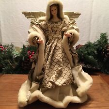 """Large Sculpture15"""" Angel Christmas Tree Topper w/Hardened Clothing StandAlone"""