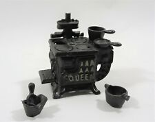 Vintage Miniature Queen Cast Iron Stove Toy with Accessories